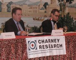 Wayne Forrest and survey author Craig Charney at the Houston event